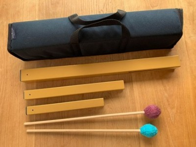 Ohm Middle, Low, High Hand Chimes with Wine & Aqua Mallets and Carrying Case